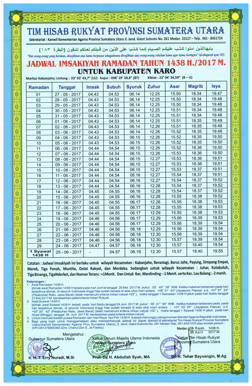 Jadwal Imsakiyah Ramadhan Kabupaten Karo Tahun 1438 H/2017 ...